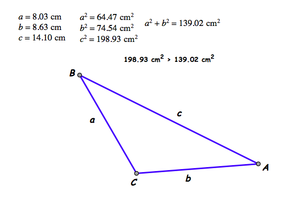 how to find the hypotenuse of an obtuse triangle